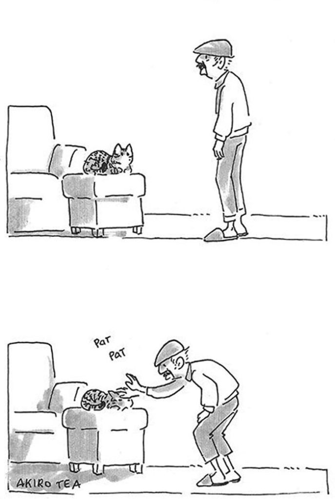 Daughter Illustrates Her Dad's Relationship With Their Cat Who Once Didn't Want A Damn Cat