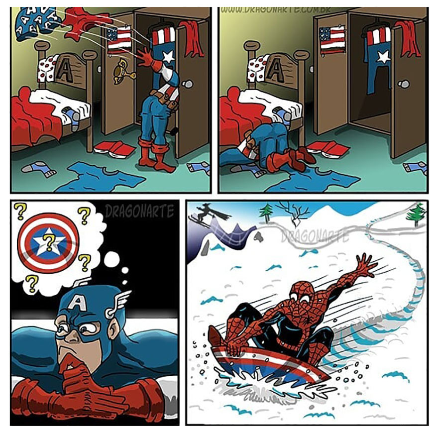 Artist Shows The Daily Life Of Superheroes And Other Famous Characters In His 33 New Comics