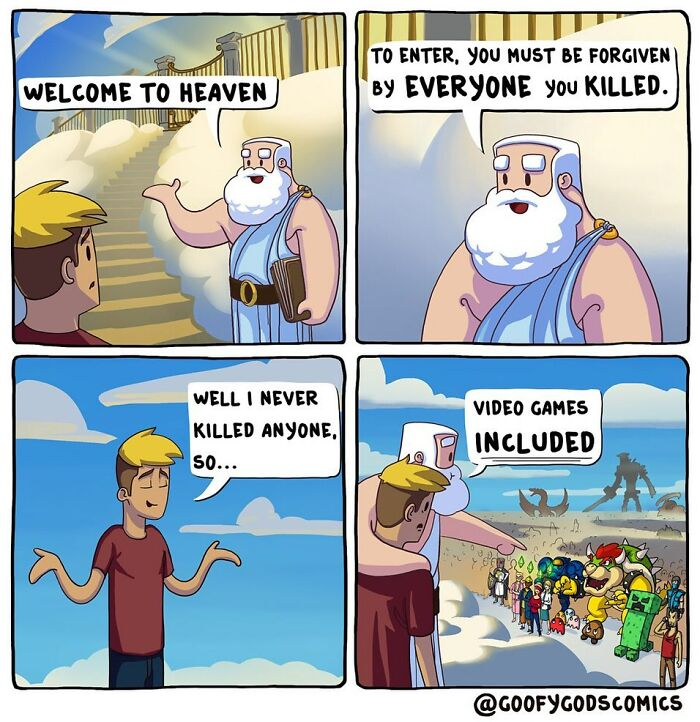 """Artist Create 25 """"Goofy"""" Comics About How Gods Deal With Everyday Problems"""